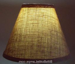 "Rustic Cottage Cabin Burlap Table Light LAMP SHADE ""Clip-On"""