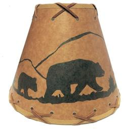 """Rustic 9"""" laced lamp shades with deer scene- clips onto ligh"""