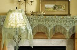 Sage Heritage Lace Gala 3 in 1 Window Valance Mantel or Lamp
