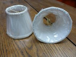 Sconce CHANDELIER Clip On LAMP SHADE WHITE TRIM lined New ol