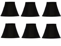 Six Inch Clip On Mini Chandelier Lamp Shade in Black Pleated