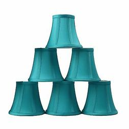 Urbanest Set of 6 Teal Silk Bell Chandelier Lamp Shade, 3-in