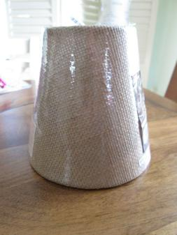 Small Burlap Lamp Shade Clip Type Tan 5 X 25