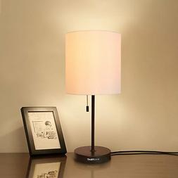 HAITRAL Table Lamp Metal Basic Modern Desk Lamp Fabric Shade
