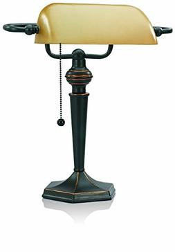 V-LIGHT Traditional Style CFL Banker's Desk Lamp with Amber