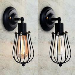 Wire Cage Wall Sconce, CMYK LED Dimmable Metal Industrial Wa
