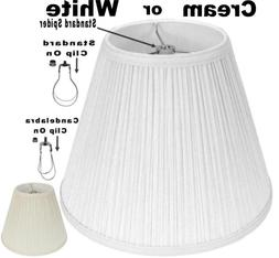 White Mushroom Pleated Lamp Shade - 3 Fitter Options - USA A