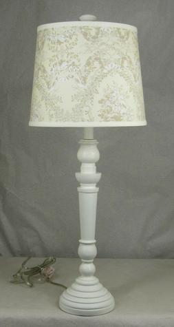 Albert Estate LTD,White Spindle Table Lamp with Floral Shade